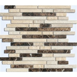 Faber 12-in x 14-in Sandalwood Blend Freeway Mosaic Natural Stone Wall Tile