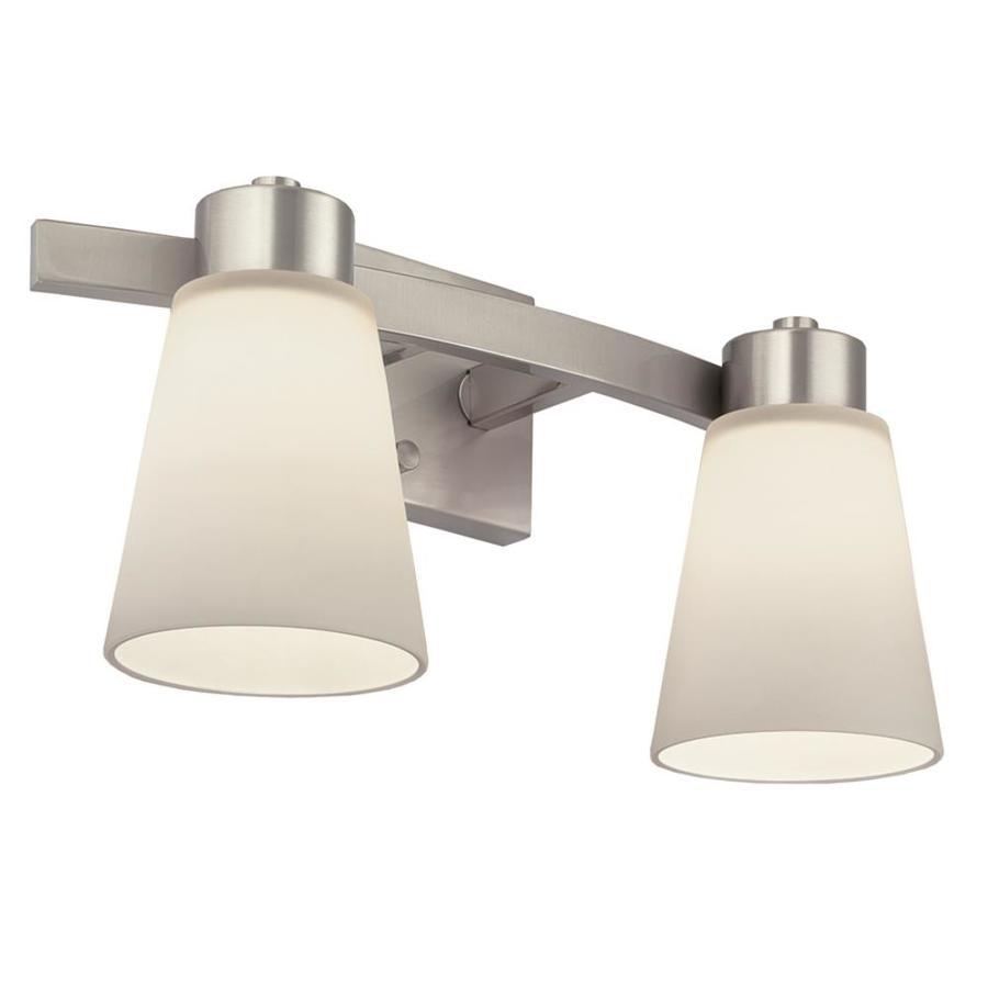 Portfolio 2 Light Brushed Nickel Bathroom Vanity Light Lowe S Canada