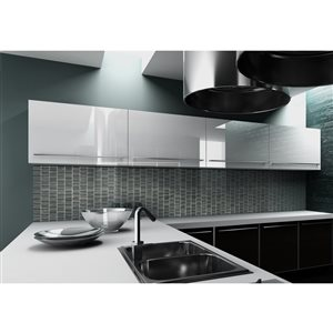 Faber 12-in x 12-in Jadya Crackle Smoke Glass Mosaic Wall Subway Tile