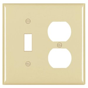 Legrand Trademaster 2-Gang Toggle/Duplex Combination Wall Plate (Ivory)
