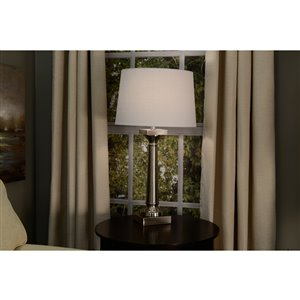 allen + roth 10-in x 15-in White Linen Fabric Drum Lamp Shade