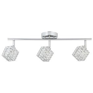 Globe Electric Ashley 3-Light 22.64-in Chrome with aluminum square shade Step Linear Track Lighting Kit