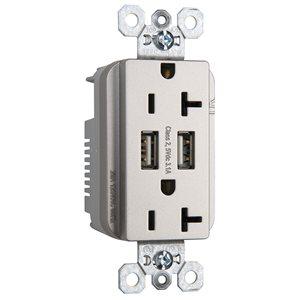 Legrand Radiant 20-Amp 125-volt Nickel Indoor Decorator Wall Outlet//USB