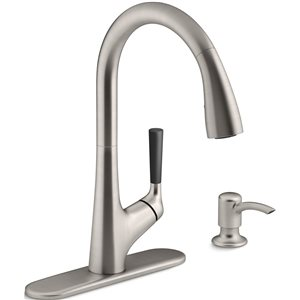 KOHLER Malleco Vibrant Stainless Steel One-Handle Pull-Down Kitchen Faucet with Soap Dispenser