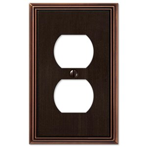Amerelle Metro Line 1-Gang Duplex Receptacle Wall Plate (Aged Bronze)