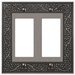 Amerelle Vine 2-Gang Decorator Rocker Wall Plate (Antique Nickel)