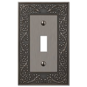 Amerelle Vine 1-Gang Toggle Wall Plate (Antique Nickel)