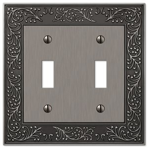 Amerelle Vine 2-Gang Toggle Wall Plate (Antique Nickel)
