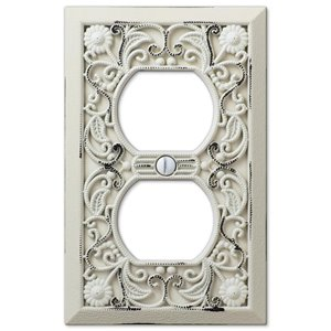 Amerelle Filigree 1-Gang Duplex Receptacle Wall Plate (White)