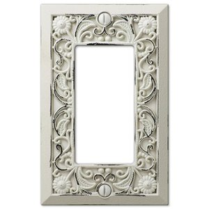 Amerelle Filigree 1-Gang Decorator Rocker Wall Plate (Antique White)