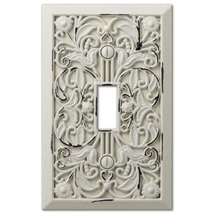 Amerelle Filigree 1-Gang Toggle Wall Plate (Antique White)