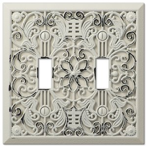 Amerelle Filigree 2-Gang Toggle Wall Plate (Antique White)