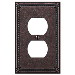 Amerelle Imperial Bead 1-Gang Duplex Receptacle Wall Plate (Aged Bronze)