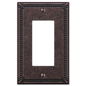 Amerelle Imperial Bead 1-Gang Decorator Rocker Wall Plate (Aged Bronze)