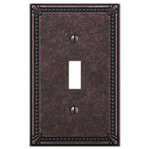 Amerelle Imperial Bead 1-Gang Toggle Wall Plate (Aged Bronze)