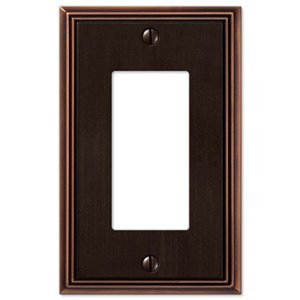 Amerelle Metro Line 1-Gang Decorator Rocker Wall Plate (Aged Bronze)