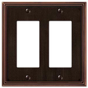 Amerelle Metro Line 2-Gang Decorator Rocker Wall Plate (Aged Bronze)