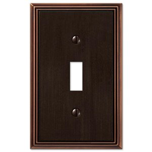 Amerelle Metro Line 2-Gang Toggle Wall Plate (Aged Bronze)