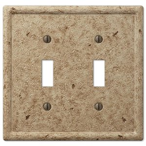 Amerelle Texture Stone 2-Gang Toggle Wall Plate (Noce)