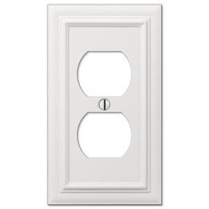 Amerelle Continental 1-Gang Duplex Receptacle Wall Plate (White)