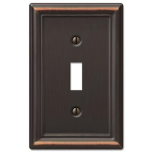 Amerelle Chelsea 1-Gang Toggle Wall Plate (Aged Bronze)