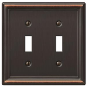 Amerelle Chelsea 2-Gang Toggle Wall Plate (Aged Bronze)