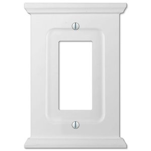 Amerelle Mantel 1-Gang Decorator Rocker Wall Plate (White Wood)