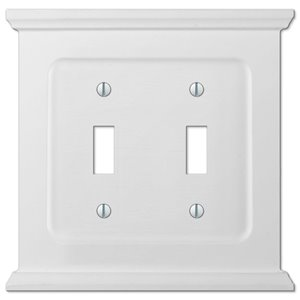 Amerelle Mantel 2-Gang Toggle Wall Plate (White Wood)