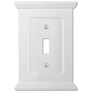 Amerelle Mantel 1-Gang Toggle Wall Plate (White Wood)