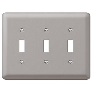 Amerelle Devon 3-Gang Toggle Wall Plate (Brushed Nickel)