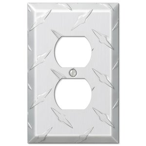 Amerelle Garage 1-Gang Duplex Receptacle Wall Plate (Chrome)