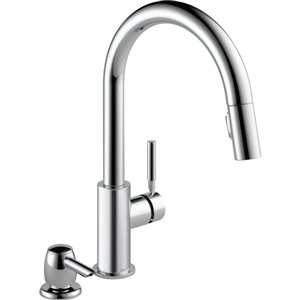 DELTA Trask Single Handle Pull-Down Kitchen Faucet with Soap Dispenser in Chrome