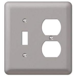 Amerelle Devon 2-Gang Toggle/Duplex Combination Wall Plate (Brushed Nickel)