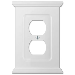 Amerelle Mantel 1-Gang Duplex Receptacle Wall Plate (White Wood)