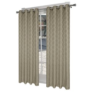 Design Decor Baroque 84-in Natural Jacquard Polyester Single Curtain Panel