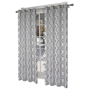 Design Decor Taury 84-in Black Pearl Printed Polyester Single Curtain Panel