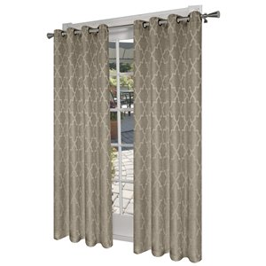 Design Decor 84-in Natural Polyester Grommet Room Darkening Single Curtain Panel