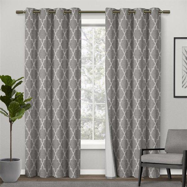 Design Decor 84 In Ash Grey Polyester, White Room Darkening Curtains Canada