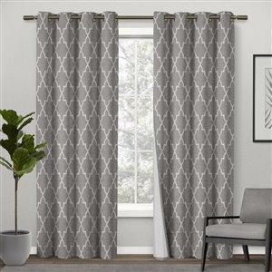 Design Decor 84-in Ash Grey Polyester Grommet Room Darkening Single Curtain Panel
