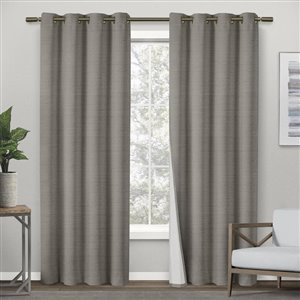 Design Decor 84-in Viridian Grey Polyester Grommet Room Darkening Single Curtain Panel