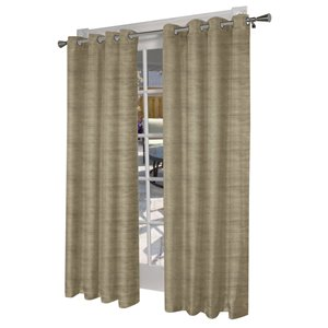Design Decor 84-in Taupe Polyester Grommet Room Darkening Single Curtain Panel