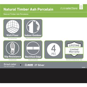 Style Selections Natural Timber Ash Wood Look Porcelain Floor and Wall Tile (Common: 8-in x 48-in; Actual: 7.72-in x 47.4-in)