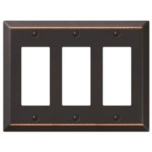 Amerelle Century 3 Gang Decorator Rocker Wall Plate Aged
