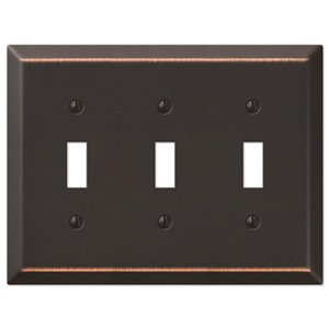 Amerelle Century 3-Gang Toggle Wall Plate (Aged Bronze)