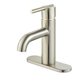 Pfister Fullerton Brushed Nickel 1-Handle Single Hole 4-in Centerset WaterSense Bathroom Sink Faucet with Drain (Valve Included)