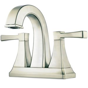 Pfister Halifax Brushed Nickel 2-Handle 4-in Centerset WaterSense Bathroom Sink Faucet with Drain (Valve Included)