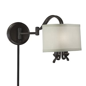 Westwood Collection 9-in H Olde Bronze Swing-Arm Wall-Mounted Lamp with Paper Shade