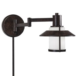 Westwood Collection 8.5-in H Tannery Bronze Swing-Arm Wall-Mounted Lamp with Glass Shade