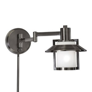 Westwood Collection 8.5-in H Antique Pewter Swing-Arm Wall-Mounted Lamp with Glass Shade