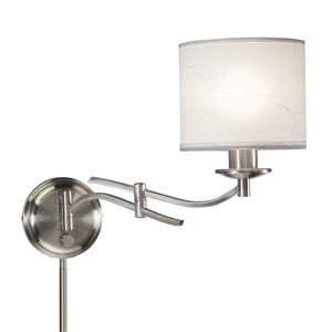 Westwood Collection 11.75-in H Brushed Nickel Swing-Arm Wall-Mounted Lamp with Paper Shade